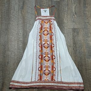 Aztec Pattern Dress ecote white flowy open back